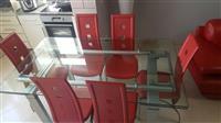 Tavoline xhami + 6 karrige si te reja