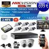 8 KAMERA 2 MP + DVR + HDD 3TB + MONITOR + INSTALIM