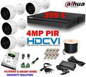 4 KAMERA PIR 4MP DAHUA + DVR + 2TB + AKSESORE 399€